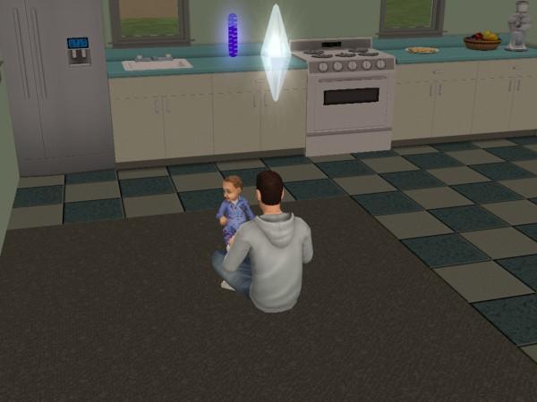 Денис учит Аллу (Алла ещё малыш).