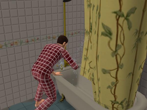Денис моет ванну.