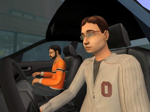 Денис и Олег в машине.