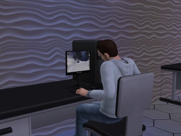 Денис сидит за компьютором.