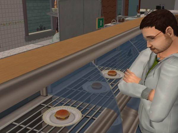 Денис думает о гамбургерах.