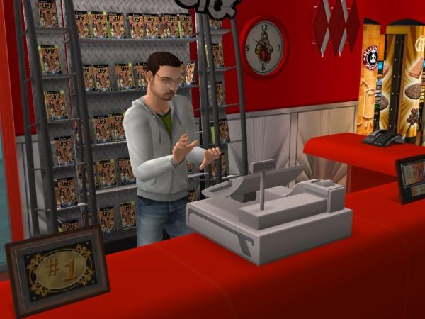 Денис работает в своём магазине. В данный момент кассиром