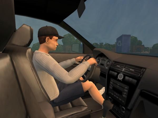 Денис за рулём машины.